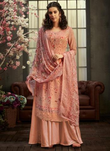 Festival Wear Peach Swarovski Work Viscose Georgette Palazzo Suit