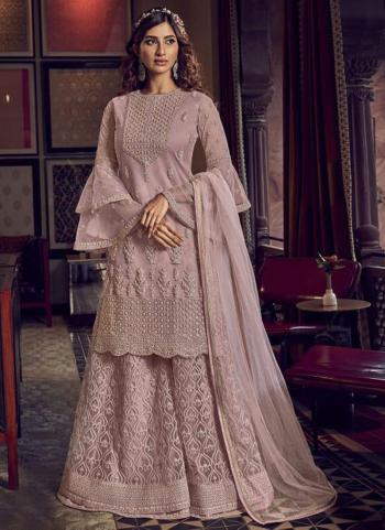 Wedding Wear Light Purple Heavy Embroidery Work Net Sharara Suit
