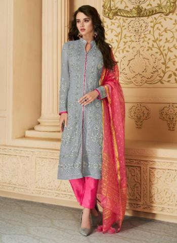 Festival Wear Grey Embroidery Work Georgette Palazzo Suit