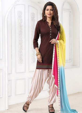 Festival Wear Brown Katha Work Cotton Readymade Patiyala Suit
