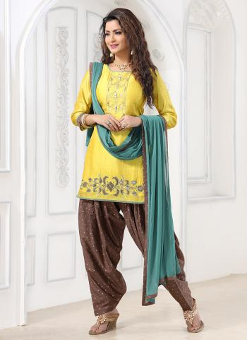 Festival Wear Lemon Yellow Hand Work Art Silk Readymade Patiyala Suit
