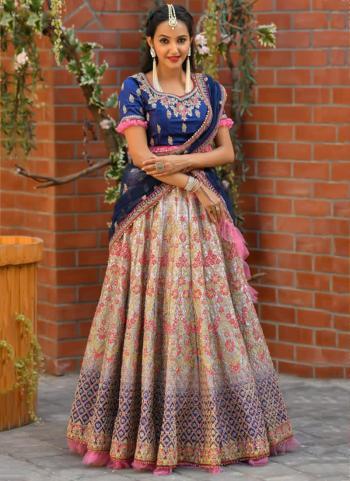 Festival Wear Blue Resham Work Satin Lehenga Choli