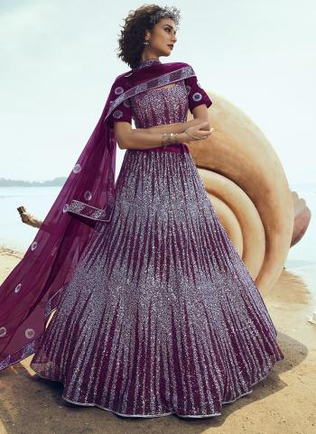 Party Wear Wine Net Sequins Work Lehenga Choli