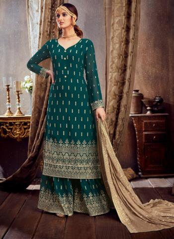 Festival Wear Rama Embroidery Work Pure Georgette Sharara Suit