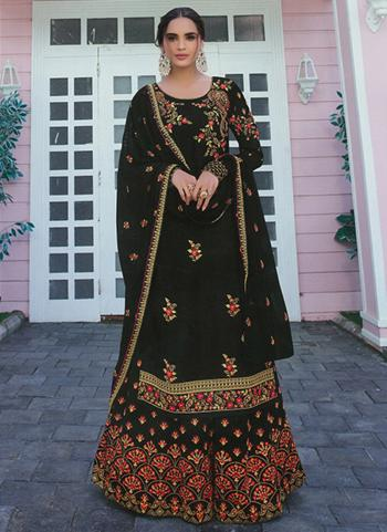 Festival Wear Black Embroidery Work Faux Georgette Palazzo Suit