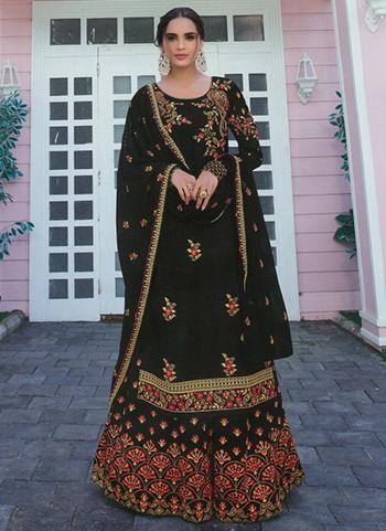 Festival Wear Black Embroidery Work Faux Georgette Palazzo Suit