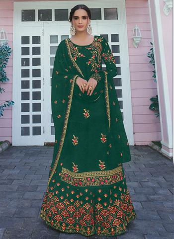 Festival Wear Green Embroidery Work Faux Georgette Palazzo Suit