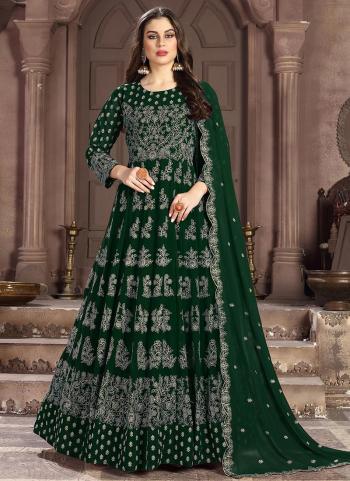 Green Georgette Wedding Wear Heavy Embroidery Work Anarkali Suit