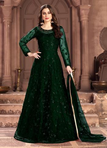 Green Net Festival Wear Embroidery Work Anarkali Suit