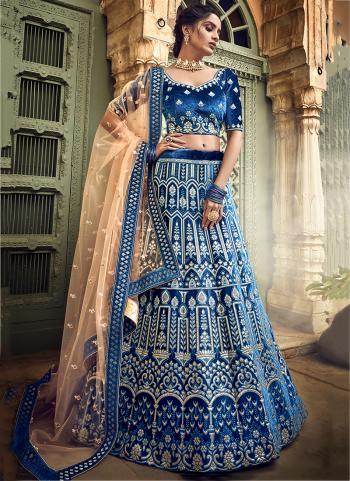 Velvet Blue Bridal Wear Thread Work Lehenga Choli