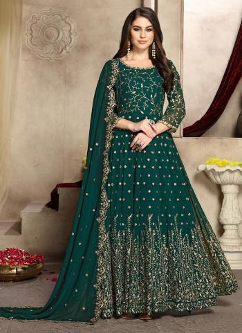 Green Georgette Wedding Wear Embroidery Work Anarkali Suit