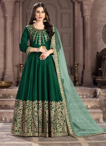 Green Silk Wedding Wear Embroidery Work Anarkali Suit