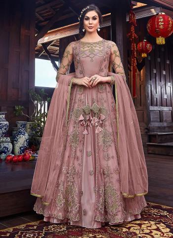 Wedding Wear Embroidery Work Pink Net Anarkali Suit