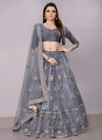 Grey Net Wedding Wear Embroidery Work Lehenga Choli
