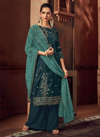 Blue Silk Wedding Wear Embroidery Work Palazzo Suit