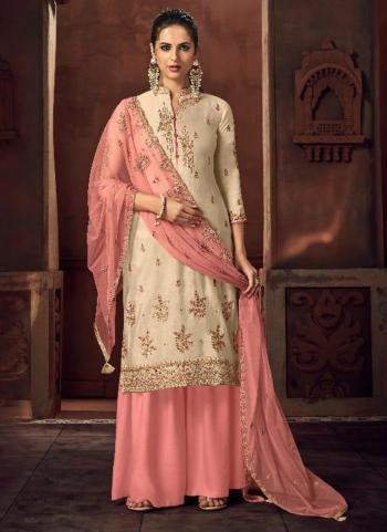 Cream Silk Wedding Wear Embroidery Work Palazzo Suit