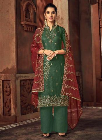 Green Silk Wedding Wear Embroidery Work Palazzo Suit