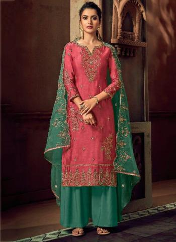 Pink Silk Wedding Wear Embroidery Work Palazzo Suit