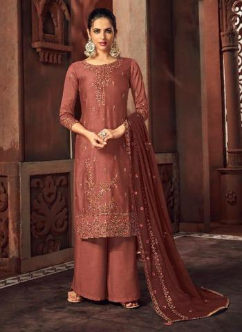 Rose Gold Silk Wedding Wear Embroidery Work Palazzo Suit