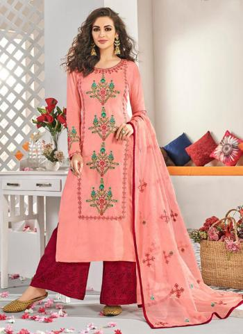 Pink Muslin Festival Wear Embroidery Work Readymade Palazzo Suit