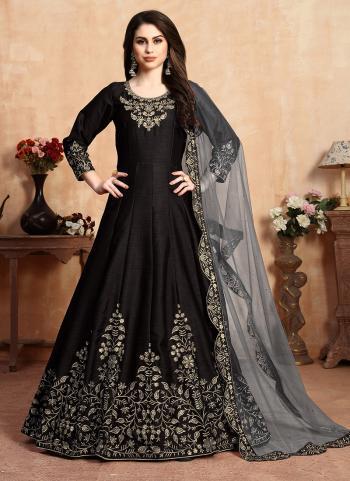 Black Art Silk Party Wear Embroidery Work Anarkali Suit
