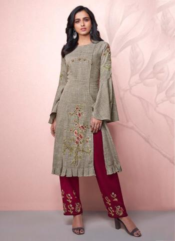 Grey Rayon Casual Wear Embroidery Work Kurti With Bottom