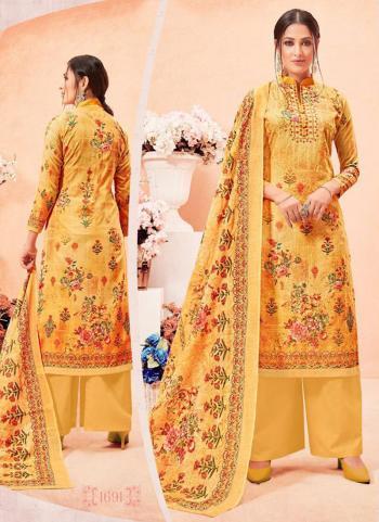 Casual Wear Yellow Cotton Satin Aari Work Palazzo Suit