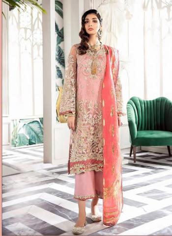 Festival Wear Pink Net Embroidery Work Pakistani Suit