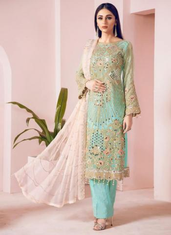 Traditional Wear Teal Net Embroidery Work Pakistani Suit