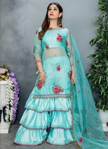 Party Wear Embroidery Work Organza Sky Blue Sharara Suit