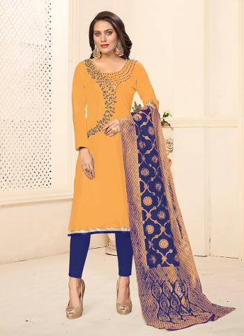 Daily Wear New Swarovski Work Cotton Yellow Churidar Suit