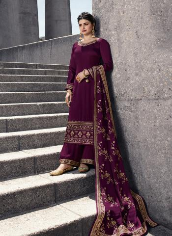 Party Wear Embroidery Work Purple Georgette Satin Palazzo Suit