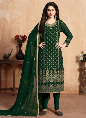 Festival Wear Green Faux Georgette Embroidery Work Churidar Suit