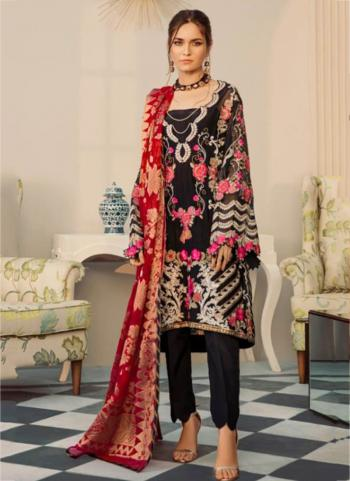 Traditional Wear Black Georgette Embroidery Work Pakistani Suit