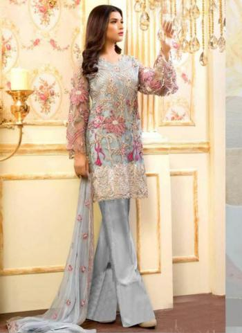 Party Wear Grey Georgette Embroidery Work Pakistani Suit