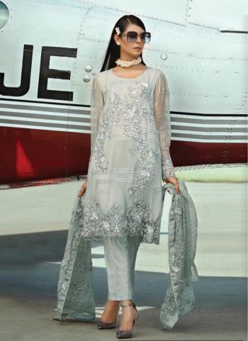 Festival Wear Grey Faux Georgette Embroidery Work Pakistani Suit