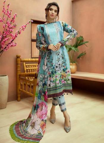 Festival Wear Sky Blue Jam Cotton Digital Print Pakistani Suit