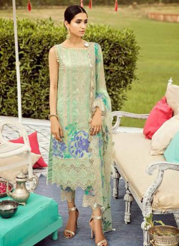 Party Wear Light Green Cambric Cotton Embroidery Work Pakistani Suit