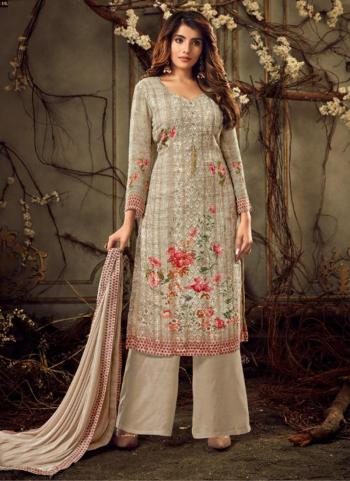 Grey Viscose Festival Wear Embroidery Work Palazzo Suit