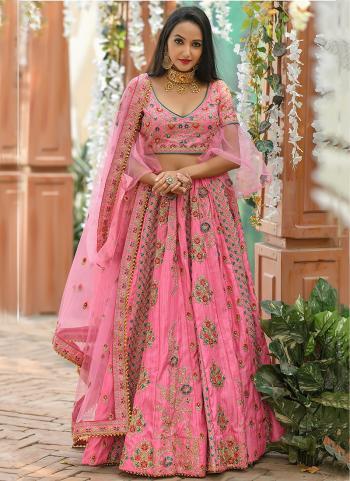 Pink Silk Wedding Wear Resham Work Lehenga Choli