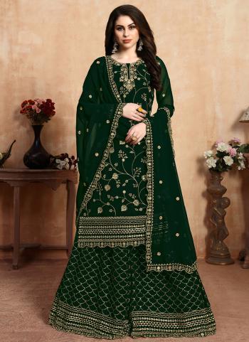 Green Faux Georgette Festival Wear Embroidery Work Sharara Suit
