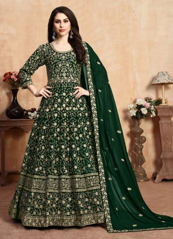 Green Faux Georgette Anarkali Suit Embroidery Work Wedding Wear