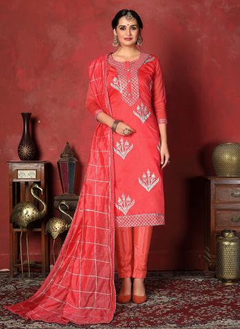 Pink Cotton Regular Wear Ribbon Work Churidar Suit