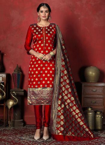 Red Banarasi Silk Daily Wear Weaving Churidar Suit