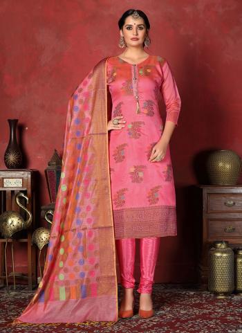 Pink Banarasi Silk Regular Wear Weaving Churidar Suit