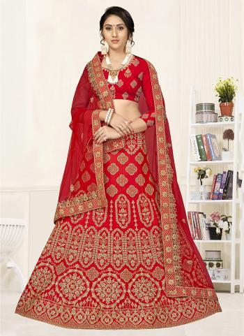 Red Satin Silk Wedding Wear Embroidery Work Lehenga Choli