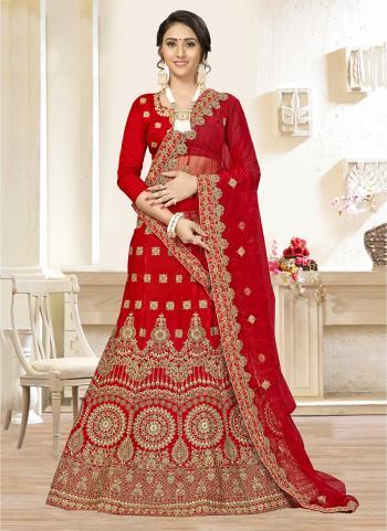 Red Satin Silk Wedding Wear Diamond Work Lehenga Choli