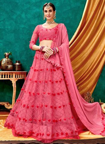 Party Wear Pink Net Lucknowi Work Lehenga Choli