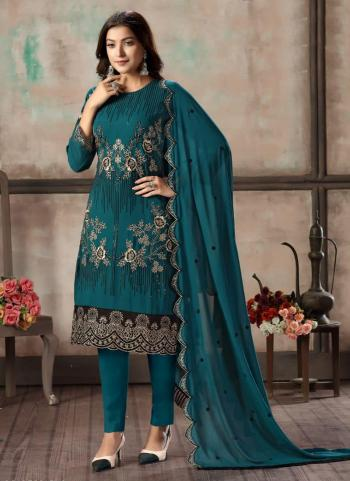 Party Wear Rama Blue Embroidery Work Faux Georgette Churidar Suit