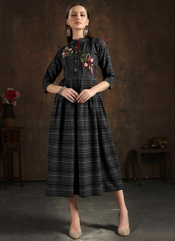 Casual Wear Black Hand Embroidery Work Pure Cotton Kurti